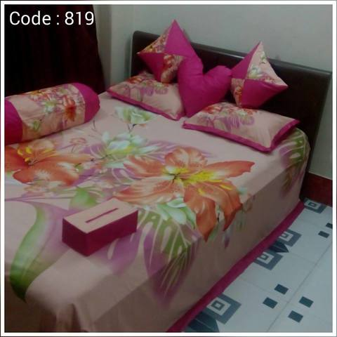 Ortha 8 pieces bedcover set - king size - Creme Pink