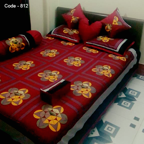 8 pecs king size panel bedsheet set - Light Maroon