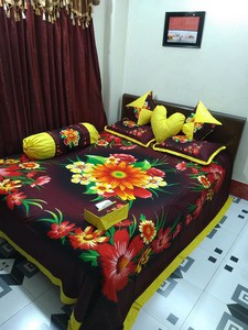 8 pcs king size bedsheet set - king size - dk. brown