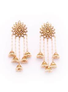 Golden Plate and Stone Work Bahubali Designed Ear Ring
