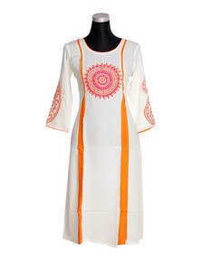 White China Linen Kurti