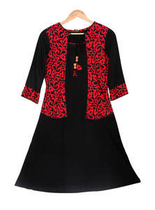 Black Red China Linen Ladies Tops