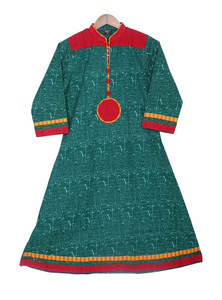 Green Red China Linen Ladies Tops