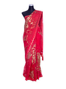 Red Muslin Hand Paint Saree