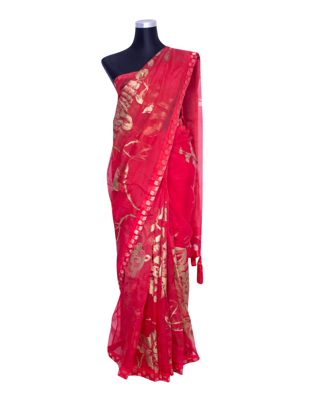 Red Muslin Hand Paint Saree