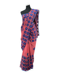 Maroon Indian Muslin Aplic Saree