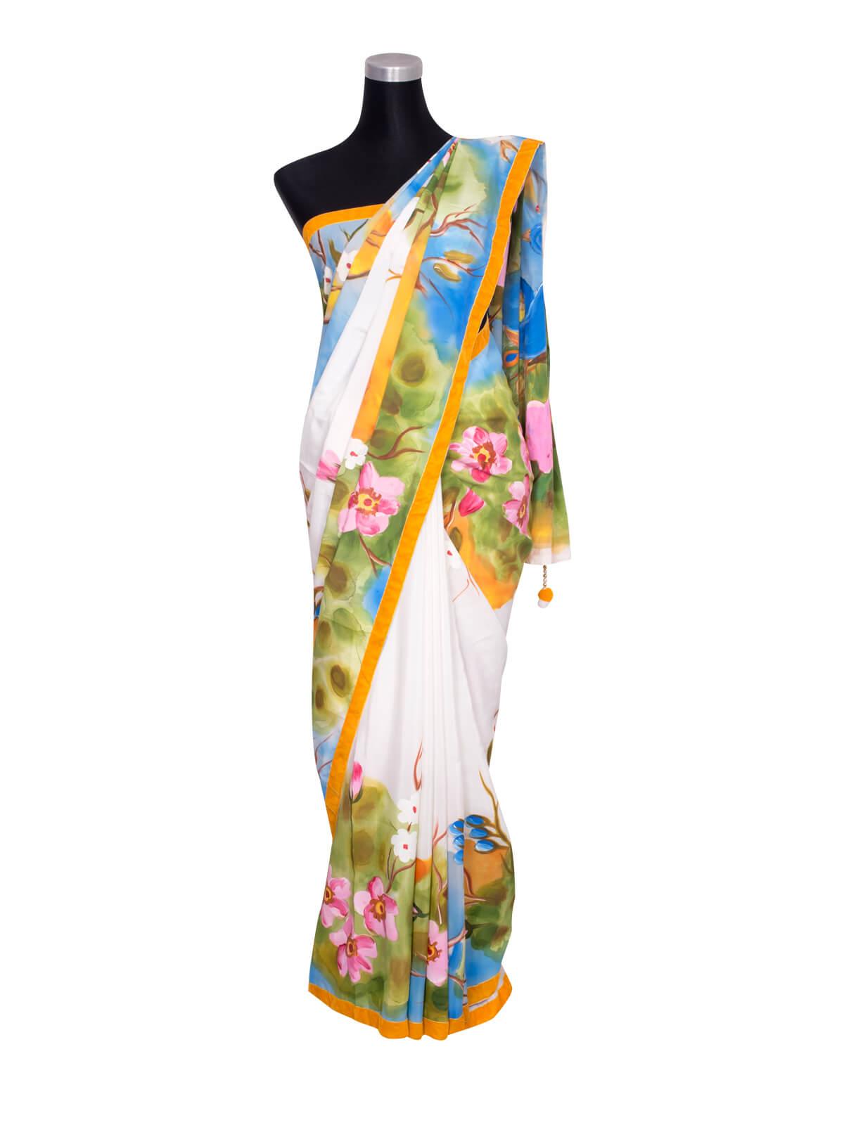 Multi-color Silk Hand Paint Saree