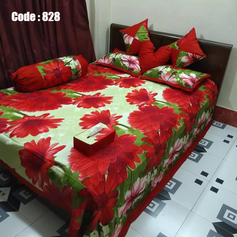 8 pecs king size bedsheet set - Olive Red