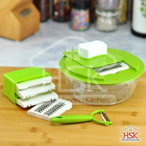 5 in 1 Multifunction Interchangable Vegetable Slicer/Grater Set with Guard and Container,