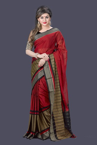 Dark Red Maslice Cotton Saree