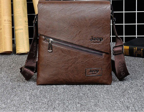 JEEP Buluo Vintage Leather Flapover Messenger Bag for iPad, iPhone and Wallets