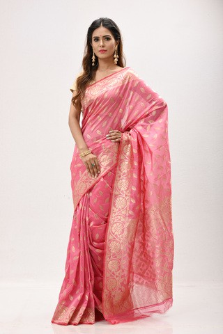 Pink Gas Silk Saree