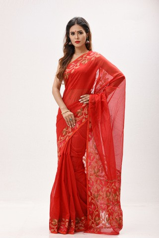 Strawberry Red Gas Silk Saree