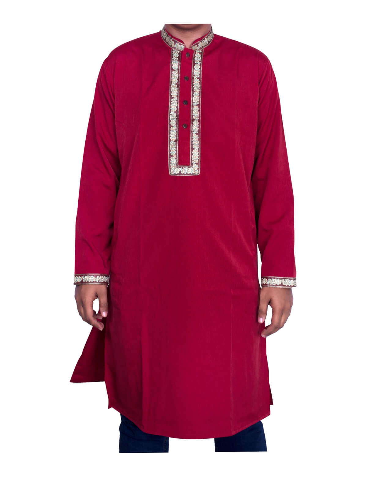 Red Slab Silk Panjabi