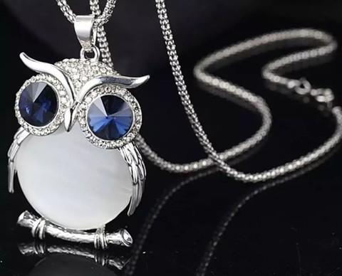New Style Charmant Women Necklace Owl Pendant Rhinestone Sweater Chain