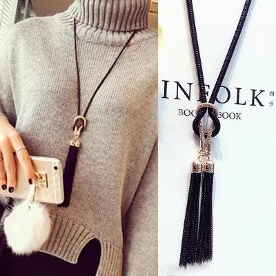 Female Pendant Necklace Tassel Long Winter Sweater Chain