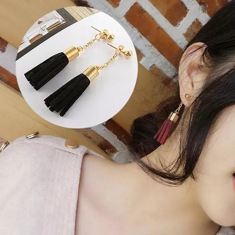 Fashion Bohemian Retro Earrings Round Simple Long Tassel Earrings Jewelry