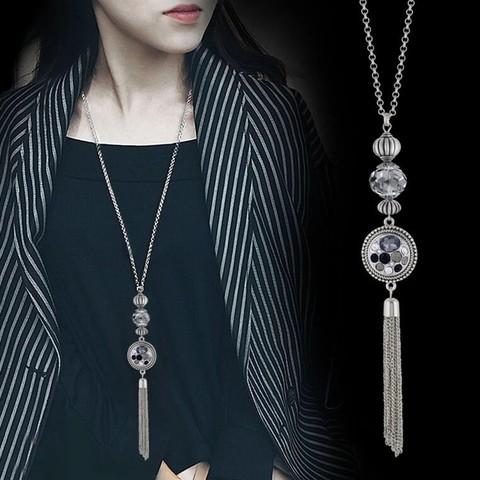 NEW fashion Classic Choker Tassel Long Necklace Sliver