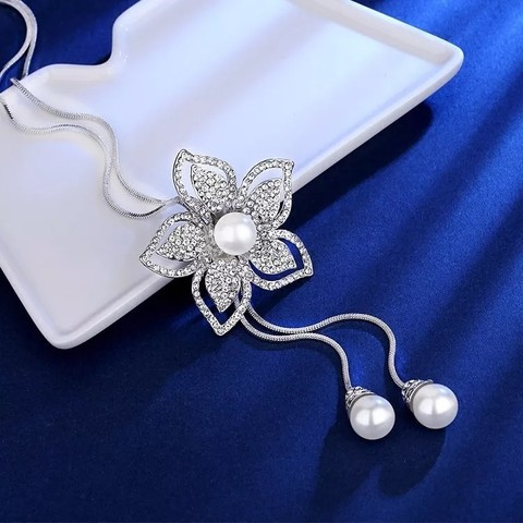 Pearl Women Choker Necklace Fashion Silver Color Crystal Flower Long Necklace