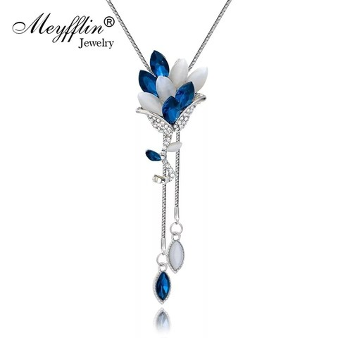 Meyfflin Collier Femme Flower Crystal Long Necklaces & Pendants Vintage Chain Opal Leaf Maxi Necklace Fashion Jewelry