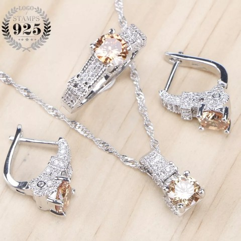Bridal Jewelry Sets Zirconia Stone Earrings For Women Silver Jewelry