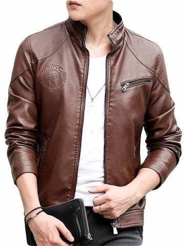 Men's Synthetic Leather Jacket Solid Color Stand Collar Long Sleeve Jacket
