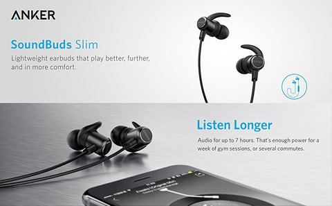Anker SoundBuds Slim Bluetooth Earbuds (18 Months Official Warranty)