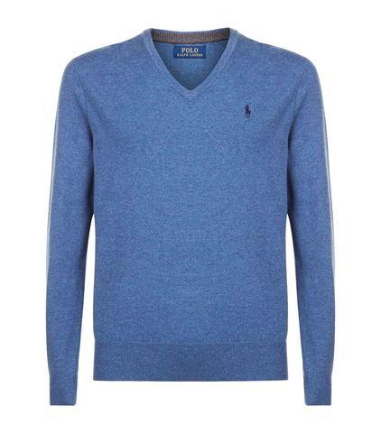 Men's Fashionable V-neck Sweater Sky blue