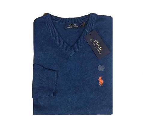 P0L0 Ralph Lauren V neck Jumpers Blue