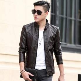 Men Motorcycle PU Leather Male Casual Jackets - BLACK