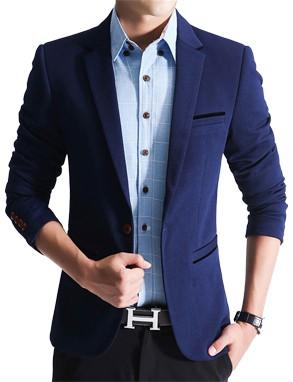 Slim Fit Fashionable Man's Blazer Blue