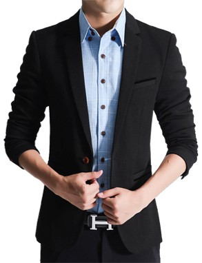 Slim Fit Fashionable Man's Blazer Black