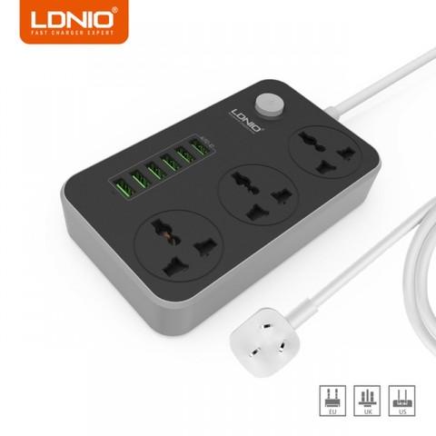 LDNIO 3Power Socket 6USB Auto Max 3.4 A  Multi Plug- Grey