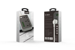 LDNIO 3Power Socket 6USB Auto Max 3.4 A  Multi Plug- Grey
