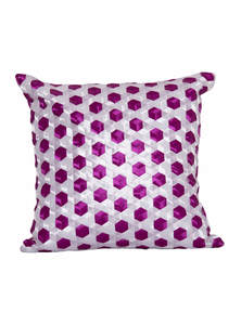 Tyrian Purple And Silver Ribbon Weaving Cushion