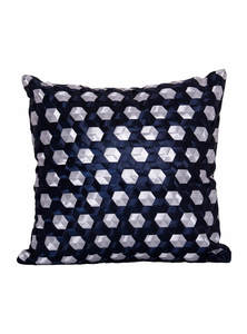 Navy Blue And Silver Grey Ribbon Weaving Cushion