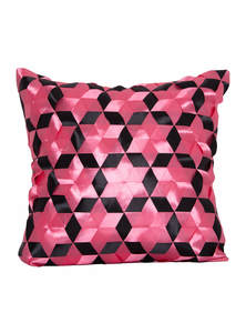 Dark Pink And Black Ribbon Weaving Cushion