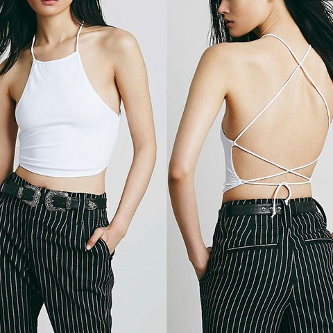 Lovebite Sexy Summer Backless Cami Halter Crop Top Women Bustier Bralette Vest