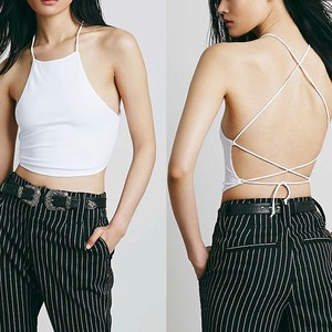 Lovebitebd Backless Camis Halter Crop Top For Women