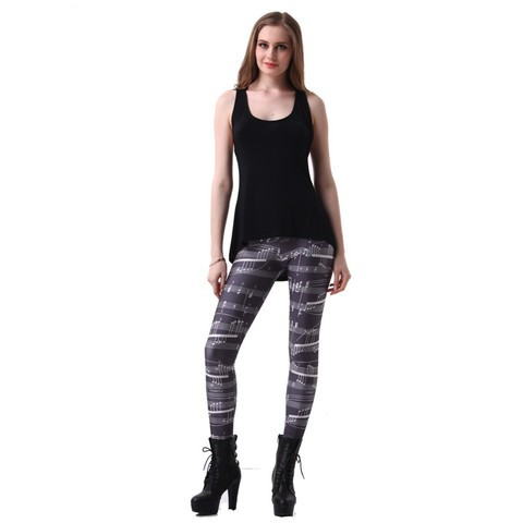 Lovebite Elastic Casual Pants 3D Digital Printing Note music Pattern Women Leggings 7 sizes Fitness Clothing Free Shipping