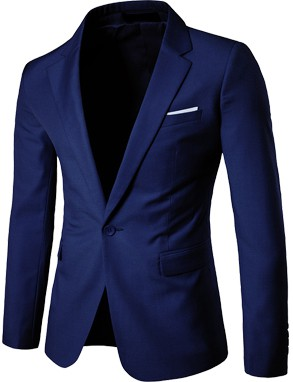 Slim Fit Fashionable Man's Blazer Blue
