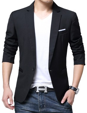 Slim Fit Fashionable Man's Blazer Black