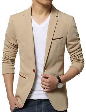 Slim Fit Fashionable Man's Blazer Beige