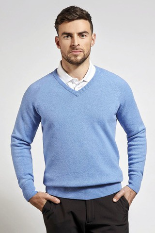 Men's Fashionable V-neck Sweater Sky blue