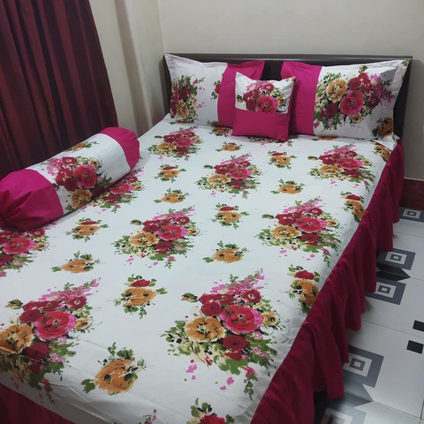 Flora printed 5 pecs unique ortha bedsheet