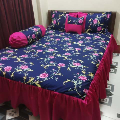 Rose Printed 5 pecs unique ortha bedsheet