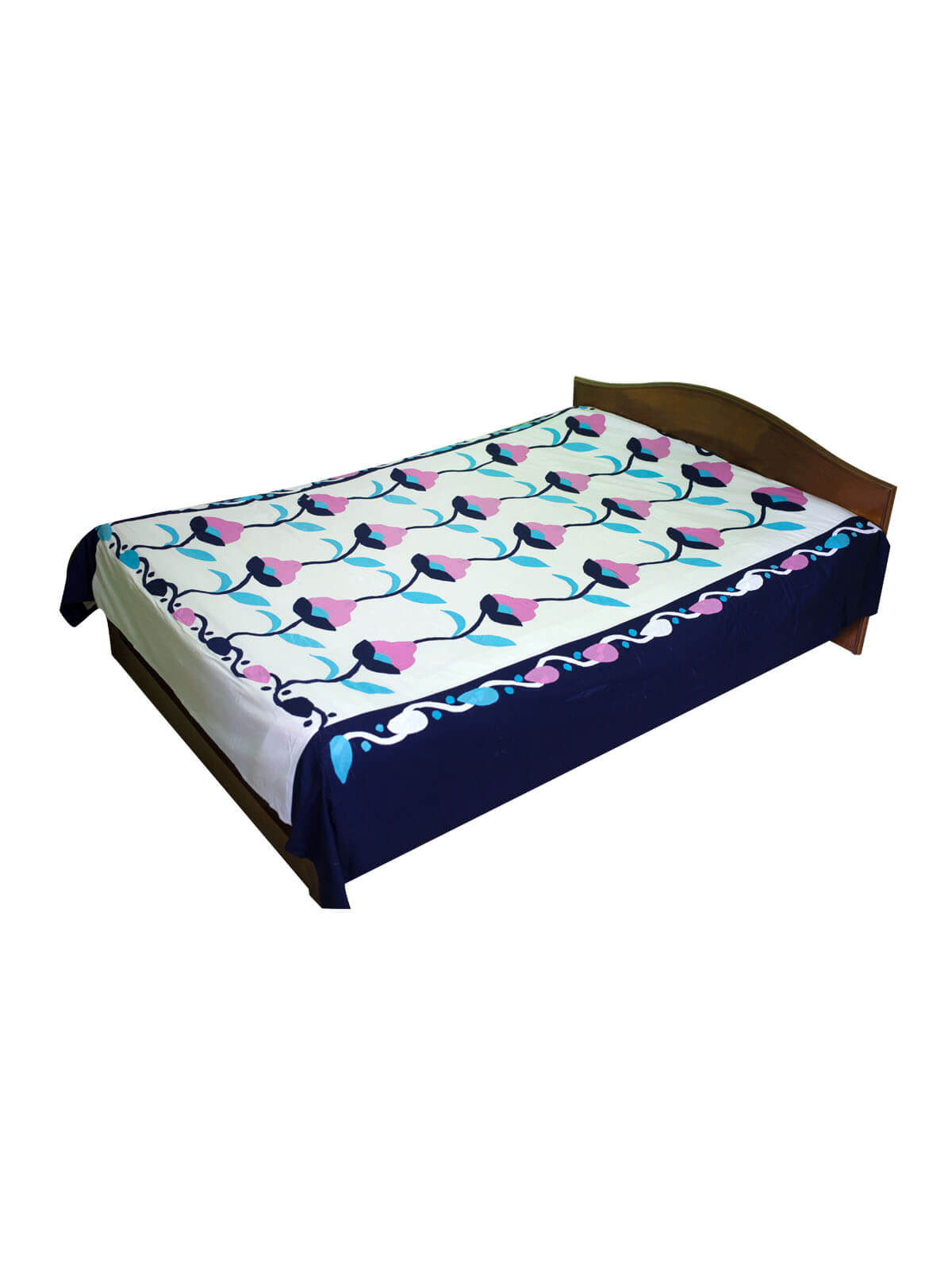 White & Navy Blue Cotton Bed Sheet with 2 Pillow Cover
