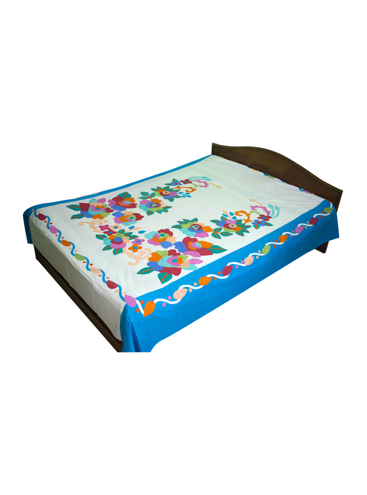 White & Blue Cotton Bed Sheet with 2 Pillow Cover