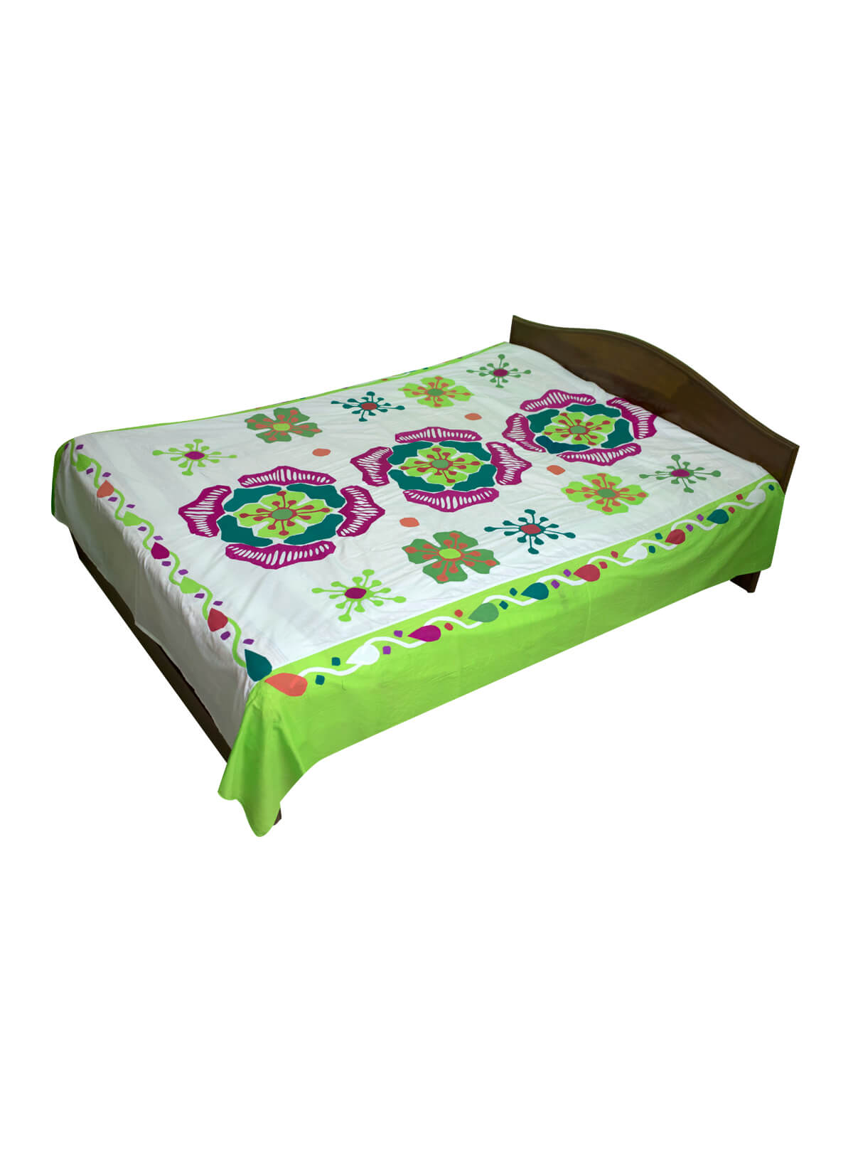 White & Light Green Cotton Bed Sheet with 2 Pillow Cover
