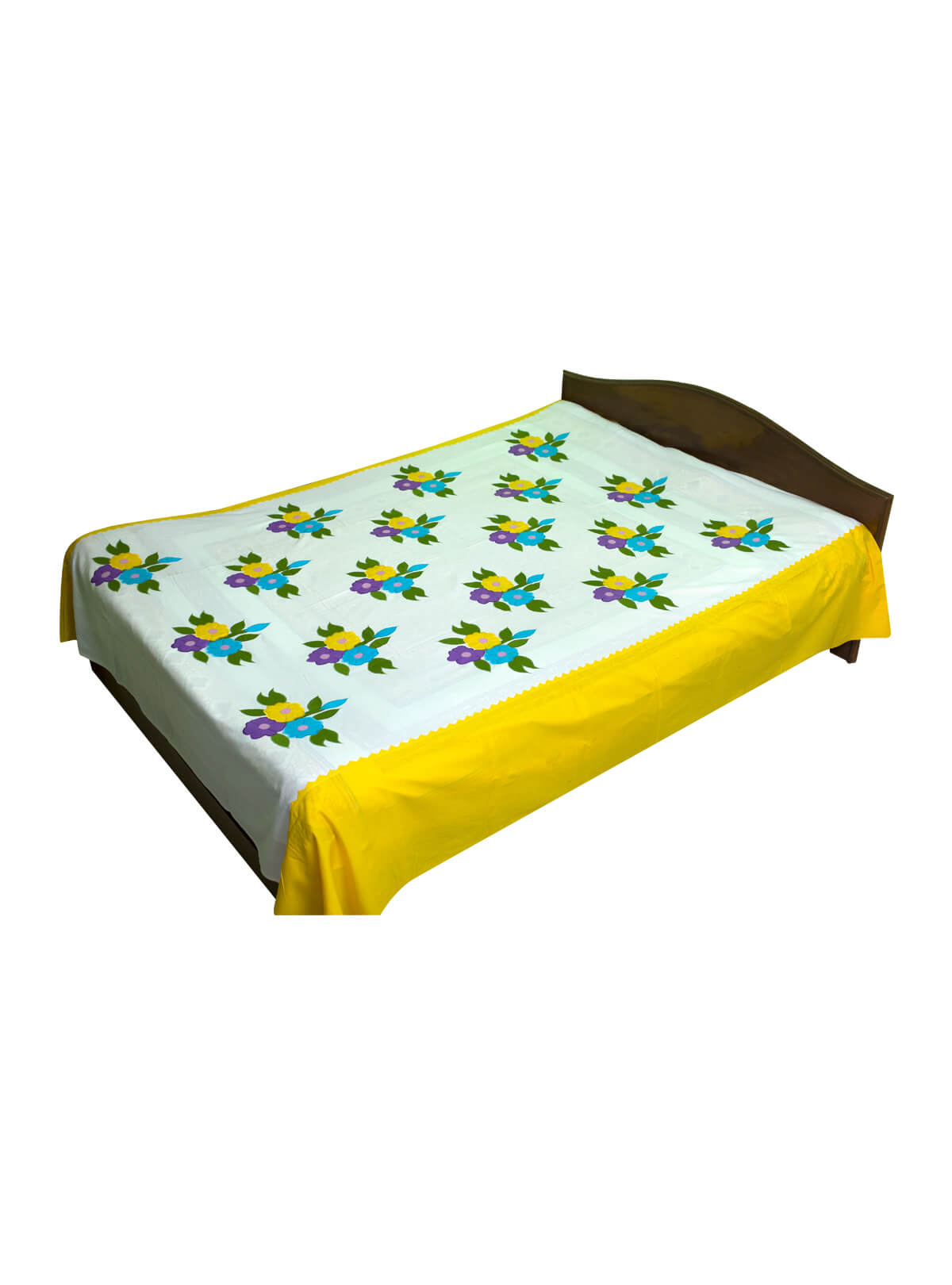 White & Yellow Cotton Bed Sheet with 2 Pillow Cover